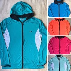 Womens UNDER ARMOUR Heat Gear Tech Full Zip Jersey Yoga Workout Hoodie Jacket…