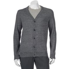 Big & Tall Apt. 9 Modern-Fit Marled Merino Cardigan Sweater ($42) ❤ liked on Polyvore featuring men's fashion, men's clothing, men's sweaters, med grey, mens tall sweaters, big and tall mens cardigan sweaters, mens grey sweater, mens big and tall sweaters and mens tall cardigan sweaters