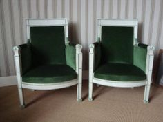 Pair of #armchairs #Consulate Period in lacquered #beechwood. Green velvet lining. 19th century. For sale on #Proantic by Pierre de Priester Antiquités.