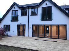 Anthracite grey RAL 7016 UPVC A rated windows, two Juliet balcony french doors & Aluk aluminium bi folding doors. Installed in Nuthall, Nottingham. For a free quotation call us on 01158 660066 visit http://www.thenottinghamwindowcompany.co.uk or pop into our West Bridgford showroom.
