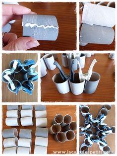 Bricolage en rouleaux de papier toilette #5 : un calendrier de l'avent |La cour des petits Napkin Rings, Assemblage, Toilet Paper Crafts, Vintage Paper, Wraps, Advent Calendar, Bricolage Noel, Yard, Toilets