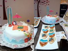 Teen beach movie cake and cookies