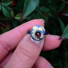 Meteorite Ring, Australian Opal, Gold Accents, Garnet, Sterling Silver Rings, Class Ring, Sapphire, Mini, Black