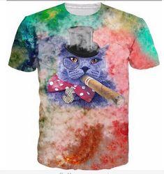 fdaf5e742ff6 Summer style men women Meowy Christmas galaxy space tees pizza cat t-shirt  t shirt camisa masculina Dropship Plus