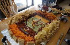 Football Stadium Made of Food...this will be at our next Superbowl Party:)