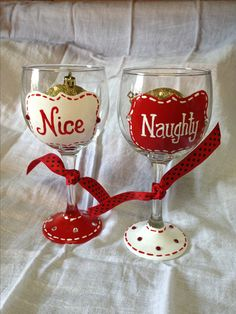 Christmas Naughty and Nice hand painted wine glasses