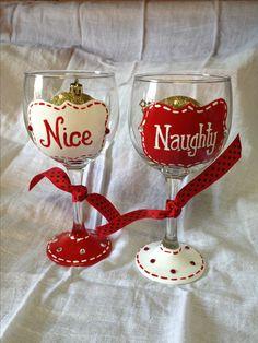 Christmas Naughty and Nice hand painted wine glasses