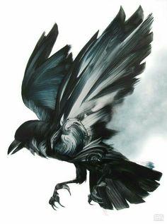 Raven tattoo for my literary sleeve (when older) Adam S Doyle, paintings… Crow Art, Raven Art, Bird Art, Tatoo Henna, Tatoo Art, Tattoo Ink, Arm Tattoo, Theme Tattoo, Skin Art