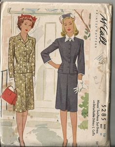 Vintage 1940's Two Piece Dress or Suit by CircaSewingPatterns