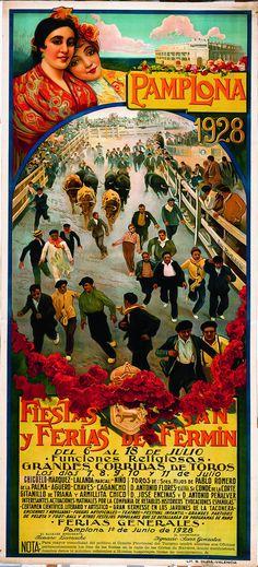 Cartel de los Sanfermines de 1928 - Fiestas y ferias de San Fermín, Pamplona :: Autor: Luis Bertodano #Pamplona