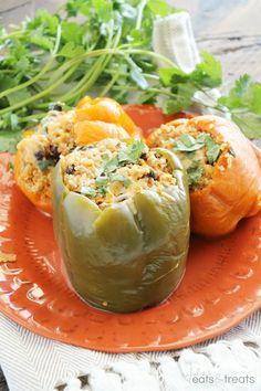 Light Crock Pot Chicken Stuffed Peppers - Julie's Eats & Treats