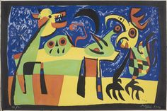 "Joan Miró, ""Dog Barking At the Moon"", 1952, lithograph #12/80"