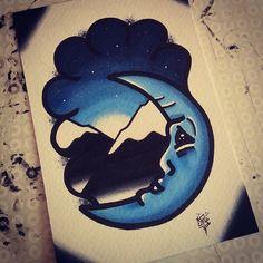 Moonlight mountains. #moonlight #moonlighttattoo #moon #moontattoo #moonface #mountain #mountaintattoo #traditionaltattoo #traditionalflash #traditional #traditionalmoon #traditionalmountain #newschool #neotraditionaltattoo #neotraditional #oldschool #allspit #watercolour #whipshade #copic #tattooflash #tattoo #flash #Padgram