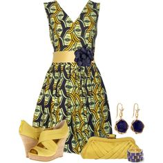 Yellow and Navy by jackaford-bittick on Polyvore