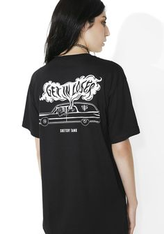 Sketchy Tank Loser Tee on Wednesdays we wear...whatever tf we want! This dope tee features a soft cotton construction, relaxed fit, brand logo chest graphic, crew neckline and sikk af hearse graphic on the back with print that reads 'GET IN LOSER'.