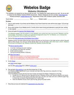 Webelos Badge Worksheet - Synhoff