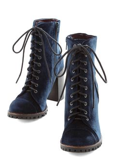 High Line Praise Boot. You sat on your usual High Line bench for only moments before a passing local stopped to shower your blue velvet boots in compliments. #blue #modcloth