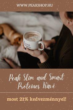 """Nincs is nap kávé nélkül. Főleg nem Slim & Smart Protein Coffee nélkül! A Slim & Smart Protein Coffee egy nagyon összetett ital, ami maximális fokozatra kapcsolja a koncentrációs képességeidet, mentális teljesítményedet. Magas koffeintartalmú """"instant"""" kávé tejsavó fehérjével és sok más természetes mentális fokozókkal, mint guarana, ginzenggel, Ginkgo Biloba kivonattal, valamint cinkkel és vitaminokkal. Természetesen a Peak nevéhez illően mindez hozzáadott cukortól és gluténtól mentesen! Smart Protein, Protein Coffee, Slim, Drinks, Drinking, Beverages, Drink, Beverage"""