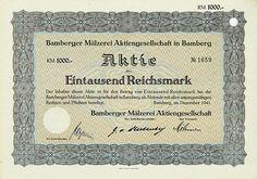 HWPH AG - Historische Wertpapiere - Bamberger Mälzerei AG Bamberg, Dezember 1941, Aktie über 1.000 RM, #1659