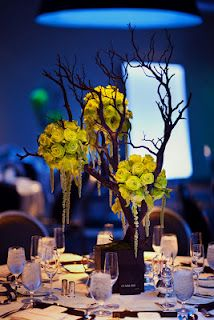 Love the dark branches with the chartreuse flowers, not so much the hanging jewels