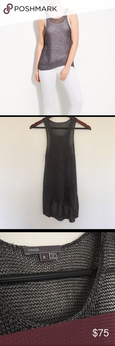 Vince Metallic Knit Tank In excellent condition, no flaws. Tops Tank Tops