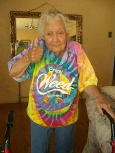 29 amazing grandmas. Extra points for this gal wearing a Weed, CA shirt.