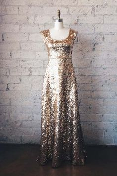 Gold Sequin FloorLength Gown  OUMA by ouma on Etsy, $500.00