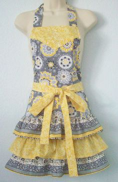 Womens Gray and Yellow Retro Full Apron / Floral Apron / Ruffles. $38.00, via Etsy.