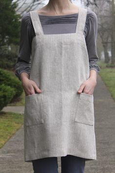The Good Life Apron  Adult  100 natural linen by DandyStitch, $70.00
