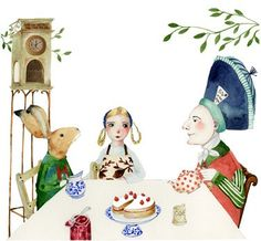 Mad Hatter Print, Alice and Hare have Tea with Mad Hatter Illustration 8x11(Etsy のChasingtheCrayonより) https://www.etsy.com/jp/listing/53129147/mad-hatter-print-alice-and-hare-have-tea