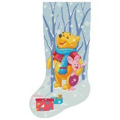 Cute Cross Stitch, Cross Stitch Samplers, Cross Stitching, Winnie The Pooh Christmas, Cute Winnie The Pooh, Disney Stockings, Christmas Stockings, Modern Cross Stitch Patterns, Counted Cross Stitch Patterns