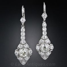 Edwardian Platinum Diamond Drop Earrings