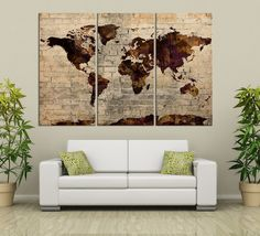 Brown Predominated Colorful World Map on Stone Wall - Vintage World Map Canvas Painting Streched - Large Wall Art Canvas