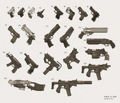 Various handgun designs. Cavalier Scout - semiautomatic hold-out pistol Walther Palm Pistol - double barreled hold-out Derringer - double barre. My Shadowrun Gun Collection 1 Sci Fi Weapons, Weapon Concept Art, Weapons Guns, Fantasy Weapons, Military Weapons, Guns And Ammo, Ninja Weapons, Sci Fi Armor, Predator
