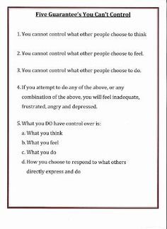 Lorinda-Character Education: Five Guarantee's You Can't Control changing positive thought pattern with radical acceptance Counseling Activities, School Counseling, Group Counseling, Counseling Worksheets, Therapy Worksheets, Therapy Activities, Cbt Worksheets, Coping Skills, Social Skills