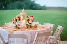 A Pink, Mint, and Burlap Wedding - I really like the elegant use of burlap in this