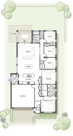 floor plan. Make the theater the dining room, spruce up the kitchen, and put some type of wall between the kitchen and family room