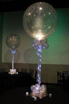 Balloon Centerpieces · Party & Event Decor Silver Sparkle Balloon Silver Sparkle Balloons with Tulle & Lights Ballons Brilliantes, Glitter Ballons, Glitter Letters, Gold Balloons, Balloon Centerpieces, Balloon Decorations, Wedding Decorations, Masquerade Centerpieces, Balloon Ideas