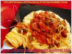 Η ΤΟΝΟΜΑΚΑΡΟΝΑΔΑ ΤΟΥ ΜΗΤΣΟΥ!!!...by nostimessyntagesthsgwgws.blogspot.com Seafood, Spaghetti, Pasta, Ethnic Recipes, Greek, Traditional, Sea Food, Greece, Noodle