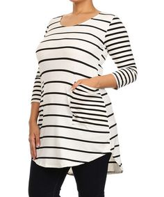 Another great find on #zulily! White & Black Stripe Tunic - Plus #zulilyfinds