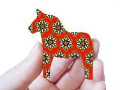 Dala Horse Brooch by craftyfolk on Etsy