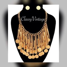 Fun Boho goldtone coin necklace Goldtone chain (18 inches) adjustable with lobster claw clasp. The coins are the size of dimes. Matching earrings included Para Ti New York Jewelry Necklaces