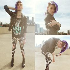 Leather Jacket, Kitten Top, Black Milk Clothing Space Kitty Tights, Dr. Martens Faux Leather Docs, H&M Necklace