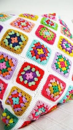 crochet granny square pillow by toni