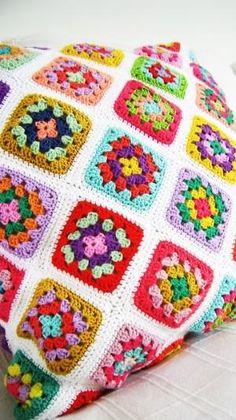 crochet granny square pillow by toni