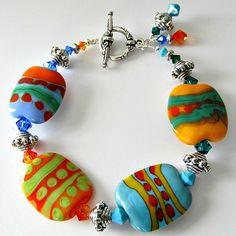 Lampwork bracelet tropical bright colors Caribbean Cruise