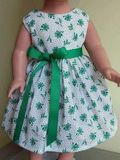 "Doll Clothes-Handmade-American Girl Dolls-Fits 18""Doll-Green Flowers Dress. #Handmade"