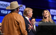 Republican Presidential hopeful Donald Trump (C) gestures as his daughter Ivanka Trump (R) laughs after the CNBC Republican Presidential Debate, October 28, 2015 at the Coors Event Center at the University of Colorado in Boulder, Colorado. #DonaldTrumpTalkingDoll