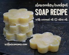 This basic soap recipe uses coconut oil and olive oil and is made in a crockpot or slowcooker. A simple and moisturizing recipe you can make at home!