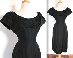 Vintage 1960s Dress // 50s 60s Black Wiggle Cocktail Dress with Draped Bodice and Train // DIVINE by TrueValueVintage on Etsy